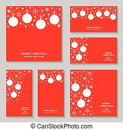 Christmas snowflakes and balls red card and banner set