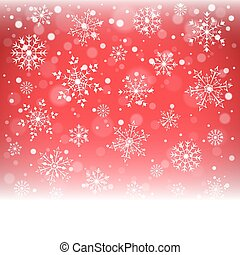 Christmas snowflakes and snowdrift on red background. Vector...