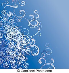 Christmas snowflakes background blue vector