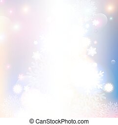 Christmas snowflakes blurred background.