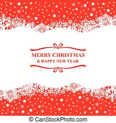 Christmas snowflakes card on red background
