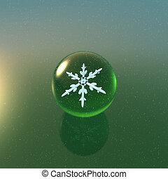 Christmas Snowflakes crystal ball green