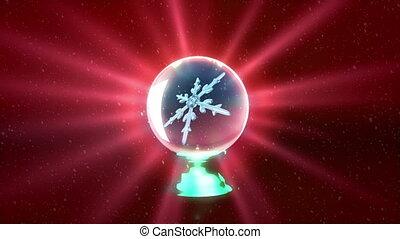Christmas Snowflakes crystal ball red - Christmas Snowflakes...