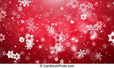 Christmas Snowflakes Falling On Dark Blue Background.