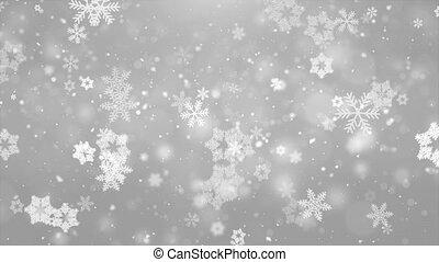 Christmas Snowflakes Falling On Dark Silver White Background.