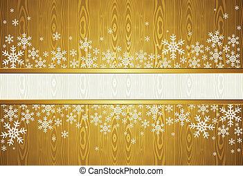 Christmas snowflakes golden background