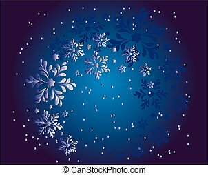 Christmas snowflakes in the night