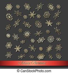 Christmas snowflakes on a dark background.