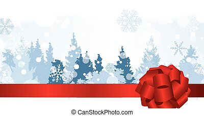Christmas Snowflakes on Background with a silhouette of trees.