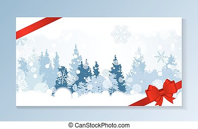 Christmas Snowflakes on Background with a silhouette of trees. V
