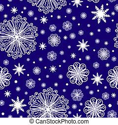 Christmas snowflakes on dark blue seamless pattern