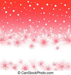 Christmas snowflakes on red background of the greeting card.