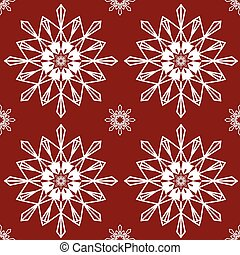 Christmas snowflakes on red background seamless background pattern