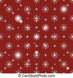 Christmas snowflakes on red background seamless pattern