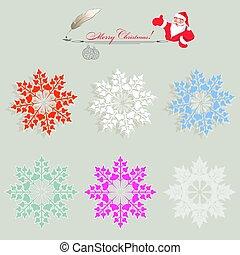 christmas snowflakes, set