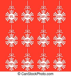 Christmas snowflakes set for sale on red background