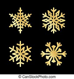 Christmas snowflakes set isolated illustration