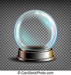 Christmas Snowglobe Vector. Glass Sphere On A Stand....