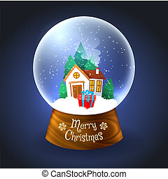 Christmas snowglobe with house