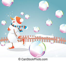 Christmas snowman and bubbles