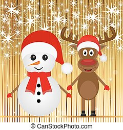 Christmas snowman and reindeer