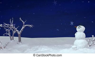 Christmas snowman at night