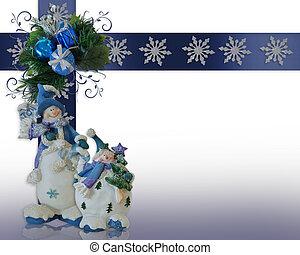 Christmas Snowman border blue ornaments