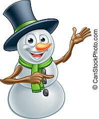 Christmas Snowman Cartoon Character Pointing - A happy...