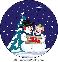 A vector illustration of two happy snow people with cowboy hats, the man has his arm around the lady and they are holding a sign wishing you a Merry Christmas. The background has a snow covered fir tree against a dark blue sky with stars and falling snow.