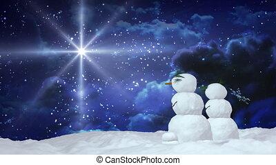 Christmas snowman couple star