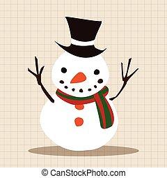 Christmas snowman flat icon elements background, eps10