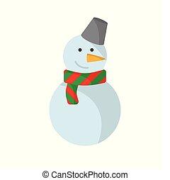 Christmas snowman flat on white background