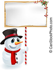 Christmas Snowman Holding Sign