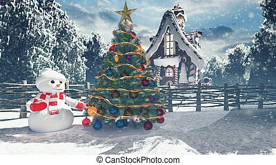 Christmas snowman in a snowy enchanted forest and a gingerbread man in the fairy house. Christmas and New year 3D rendering.