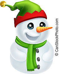 Christmas Snowman in Elf Hat - Illustration of a happy...