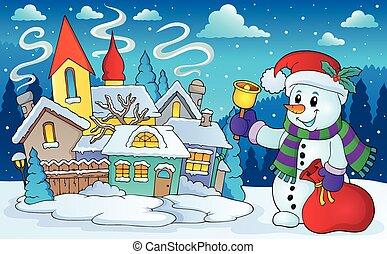 Christmas snowman in winter scenery - eps10 vector...
