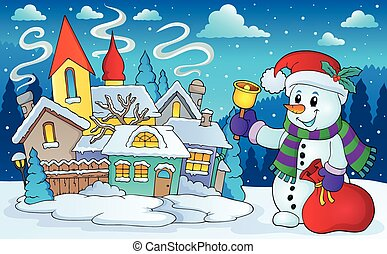 Christmas snowman in winter scenery - eps10 vector ...