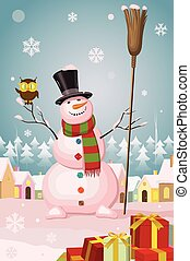 Christmas snowman in winter village landscape