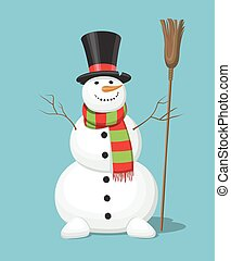 Christmas snowman isolated on blue background