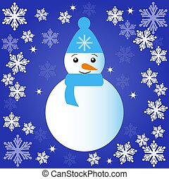 Christmas snowman on blue background. Vector illustration