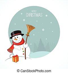 Christmas snowman on winter landscape background