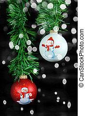 Christmas snowman ornament with bokeh lights