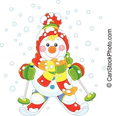 Christmas Snowman skier - Funny snowman wearing a colorful...