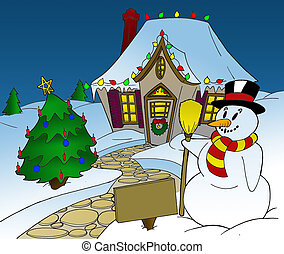 Christmas Snowman - Snowman and Christmas Tree in front of...