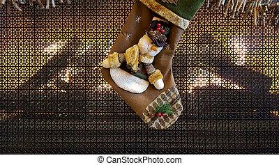 Christmas snowman stocking on fireplace