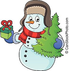 Christmas snowman subject image 1 - eps10 vector...