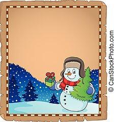 Christmas snowman subject parchment 4 - eps10 vector...