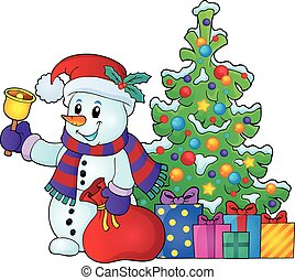 Christmas snowman topic illustration.