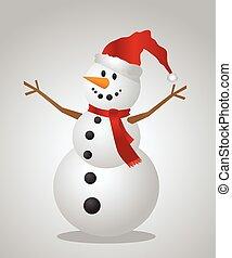 Christmas Snowman with a Santa Hat