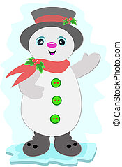 Christmas Snowman with Buttons